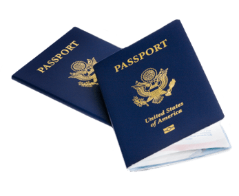 A pair of stacked and closed United States Passport books